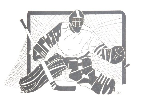 Men S Ice Hockey Goalie Silhouette Etsy
