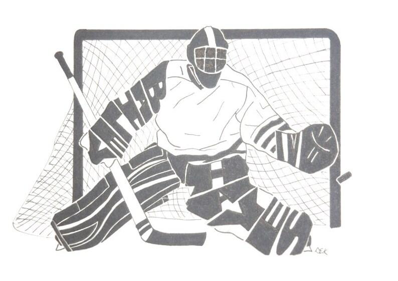 Men S Ice Hockey Goalie Silhouette Etsy