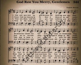 "Hymn Wall Art, Printable ""God Rest Ye Merry Gentlemen Christmas Carol"", Vintage, 8""x10"""