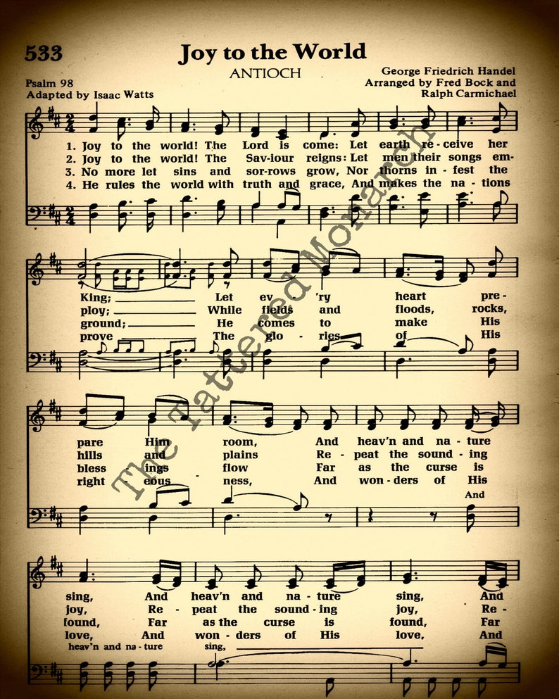 photograph about Free Printable Vintage Christmas Sheet Music identified as Hymn Wall Artwork, Printable \