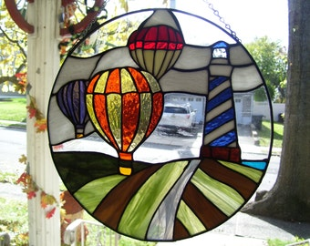 Stained Glass Hot Air Balloons & Lighthouse Suncatcher