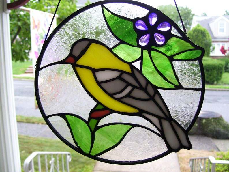 Stained Glass Spring is in the Air (Goldfinch) Sun Catcher