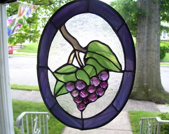 Stained Glass Grape on the Vine Suncatcher