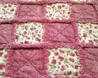 Handmade Hearts and Flowers baby rag quilt. Ready to ship