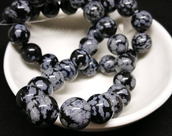 lot 10 snowflake Obsidian beads 10mm round