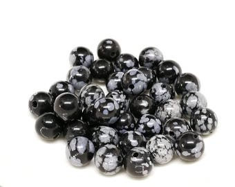 lot 10 snowflake Obsidian beads 6mm round - REF. OO.do