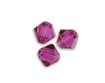 1 lot 20 bicones 4 mm fuchsia Swarovski Crystal bead