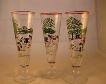 Mid Century Libbey Pilsner Glasses Set of 3