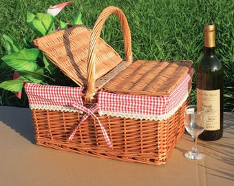 Willow picnic basket,personalized basket, gift for wedding, hand woven basket, wicker basket, decorative picnic basket, couples gifts