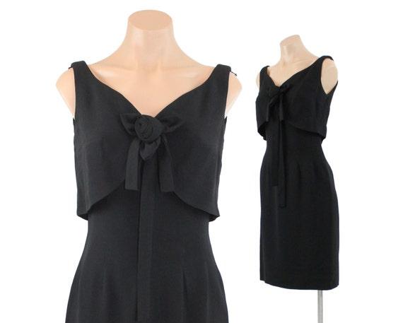 Vintage 60s Dress LBD Rosette Bow Sleeveless Dress