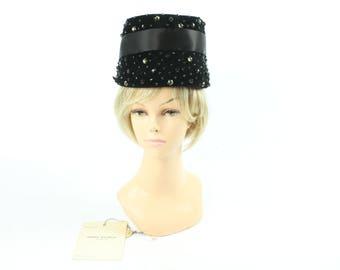 60s Pierre Balmain Rhinestone Hat Black Wool Felt Ribbon Peach Basket Vintage 1960s Chapeau Reproduction