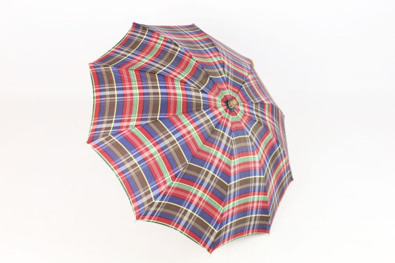 Vintage 30's Plaid Umbrella Parasol 1930's