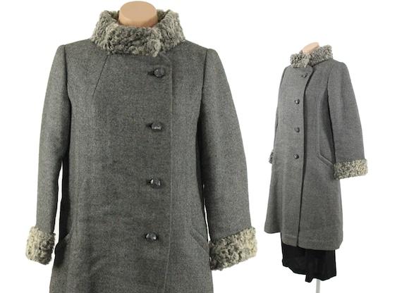 Vintage 50s 60s Wool Coat Curly Lamb Coat Gray Rus