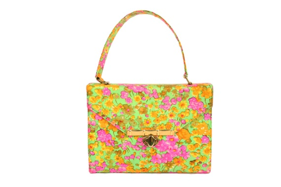 Vintage 60s Silk Handbag Box Purse Florescent Flor