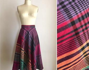 f3ae625c3 70s rainbow plaid skirt S ~ vintage wool blend flared skirt