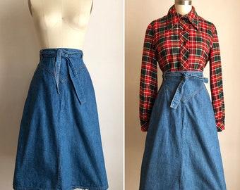 c6638be212 70s Landlubber denim wrap skirt S M ~ vintage cotton midi skirt with pockets