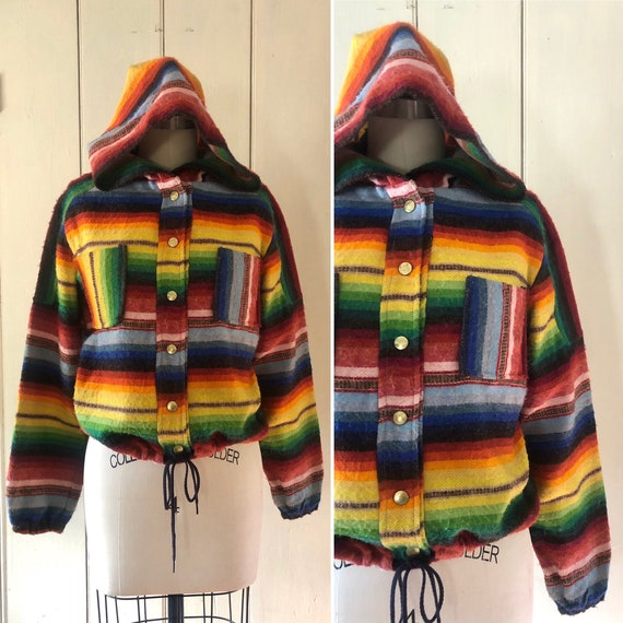 70s rainbow hooded jacket XS/S ~ vintage 1970s lig