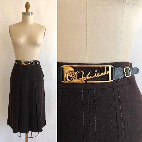 70s wool crepe skirt with novelty brass bling S  ~