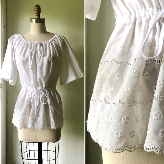 70s eyelet lace blouse S-M ~ vintage white cotton