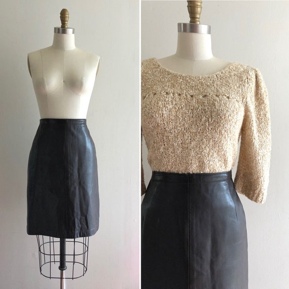 80s leather skirt S~ vintage dark brown supple lea