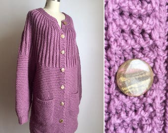 70s lilac sweater coat S/M  ~ vintage long knit cardigan