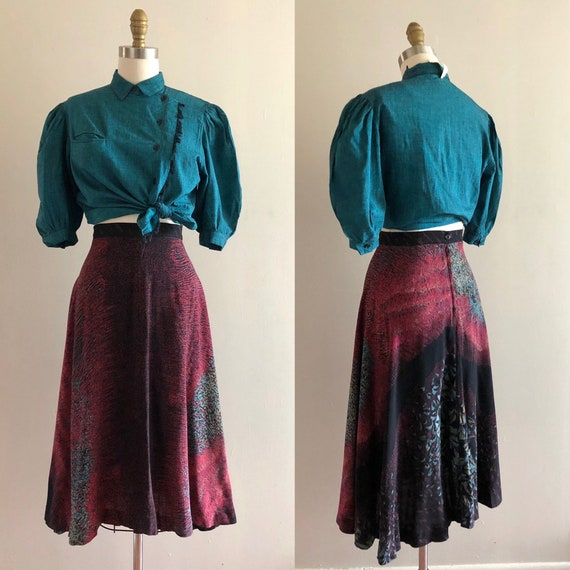 1970s rayon floral skirt S  ~ vintage flared A li… - image 4