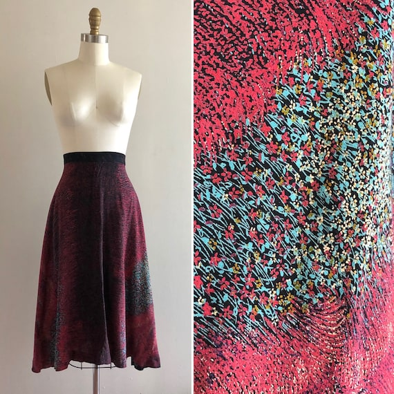 1970s rayon floral skirt S  ~ vintage flared A li… - image 1