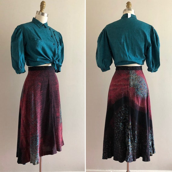 1970s rayon floral skirt S  ~ vintage flared A li… - image 5