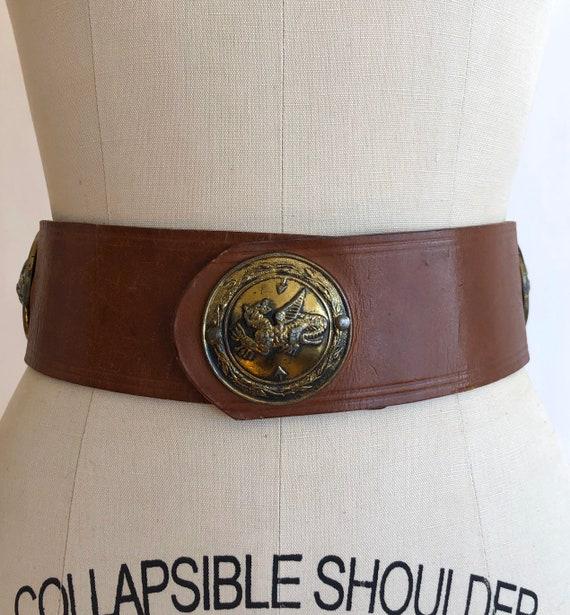 1950s leather belt S ~ vintage Griffin novelty bel