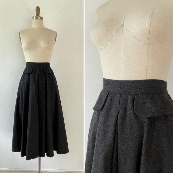 1970s flared wool skirt with pockets S ~ peplum de