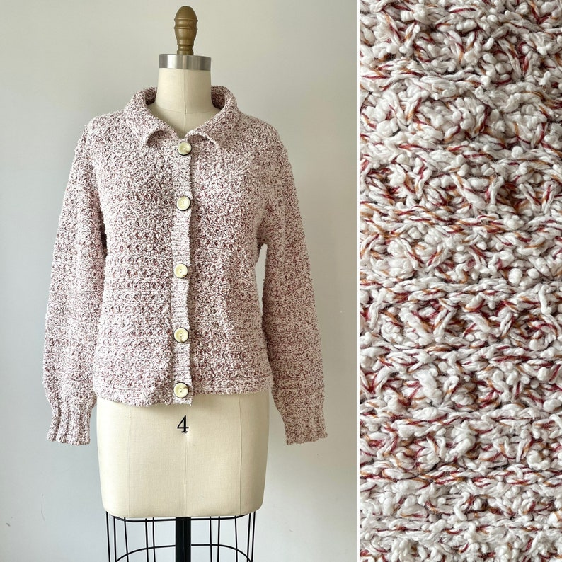 90s textured knit cardigan S-M ~ vintage cotton sweater