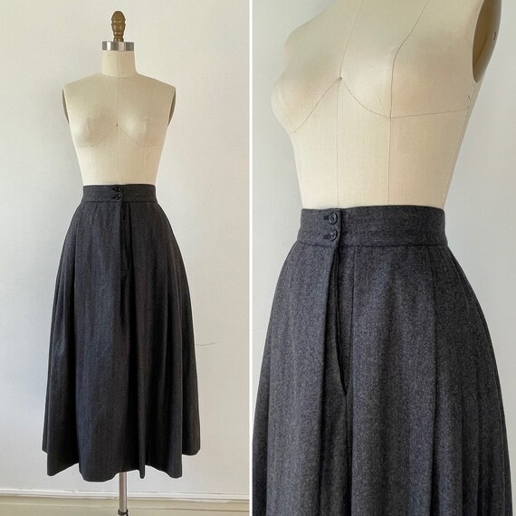 1970s flared wool skirt with pockets M/L ~ herring