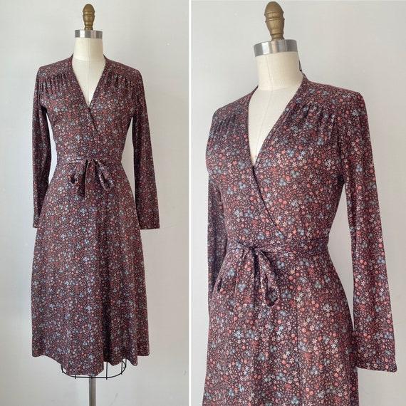 70s Lanz Originals wrap dress S ~ vintage floral c
