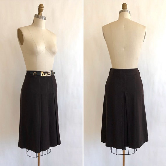 70s wool crepe skirt with novelty brass bling S  … - image 2