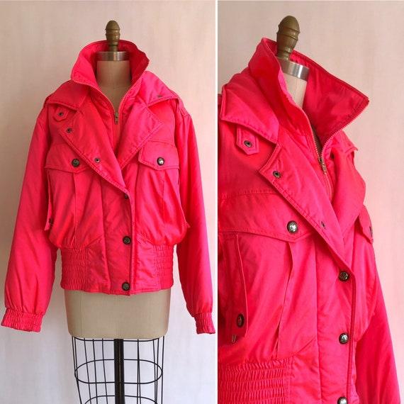 vintage highlighter pink nylon bomber jacket M-L ~