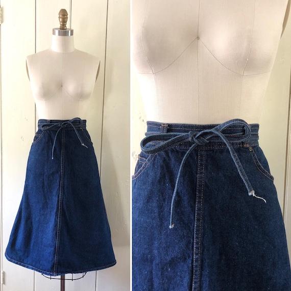 70s denim wrap skirt S ~ vintage flared midi skirt