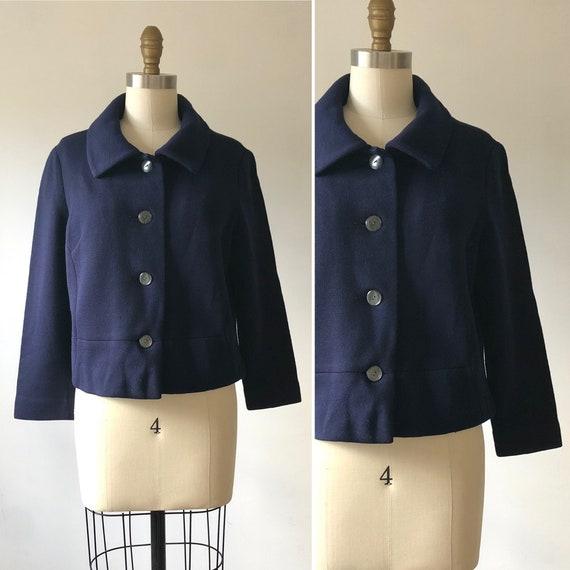 Early 60s wool knit cardigan L  ~ vintage dark blu