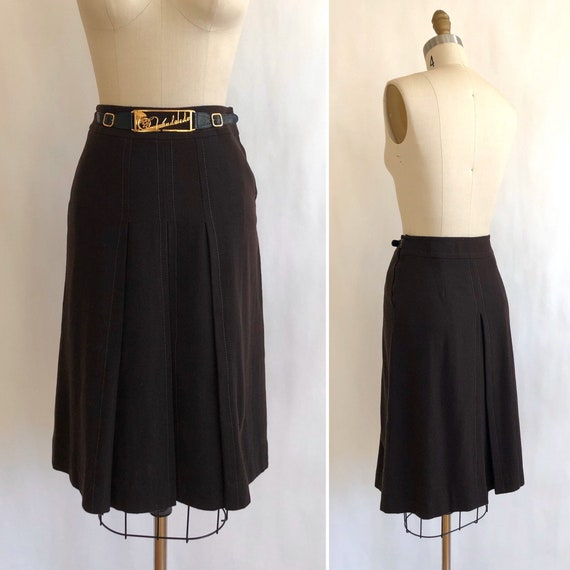 70s wool crepe skirt with novelty brass bling S  … - image 3