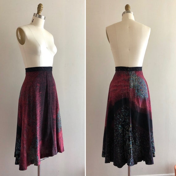 1970s rayon floral skirt S  ~ vintage flared A li… - image 2