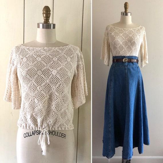 90s crochet top M ~ vintage white crochet blouse