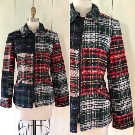 90s does 40s plaid jacket S ~ vintage mixed plaid