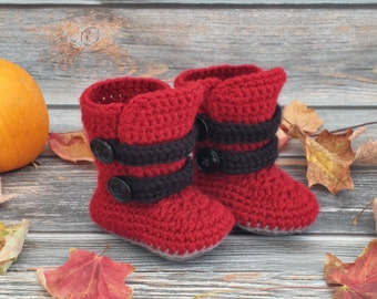 Crochet Baby Boots - Baby Winter Boots  - Infant Boots - Baby Strappy Boots - Baby Boy Boots - Baby Girl Boots - Newborn Baby Boots