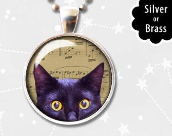 Black Cat Necklace, Cat Pendant, Music Note Jewelry Peeking cute black kitty lover pendant jewelry photo art digital vintage old romantic