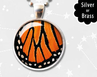Orange Monarch Butterfly Wing Pendant, Butterfly Pendant, Vintage Glass Dome, Monarch Necklace