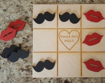 Wedding Game, Tic Tac Toe Game - Mustaches & Lips - Bride, Groom, Gift