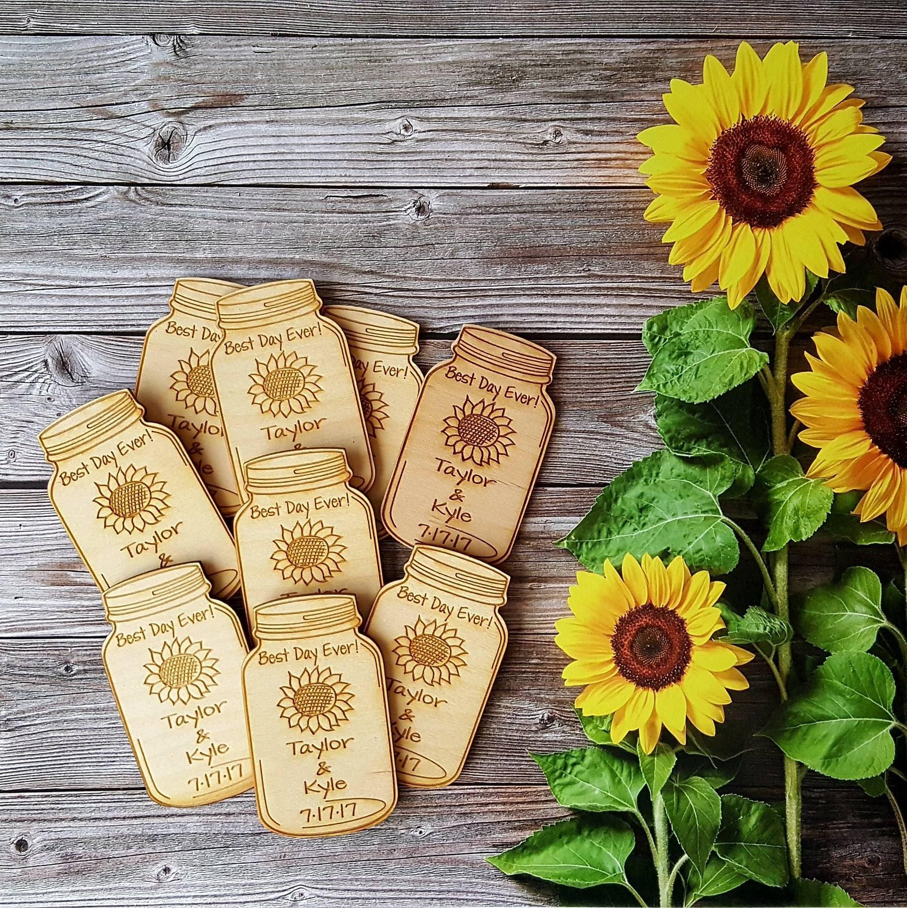 Flowers In Jars Wedding: Wedding Favor Mason Jar With Sunflower Wedding Favor