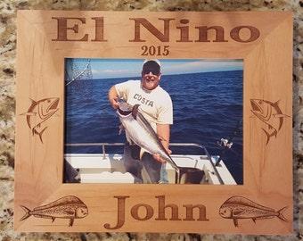 Fishing Picture Frame 5x7  Custom Laser Engraved Frame, Blue Fin Tuna, Dorado