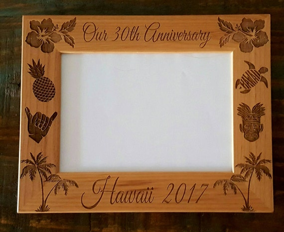 Hawaii Anniversary Picture Frame 5x7 Custom Laser Engraved | Etsy