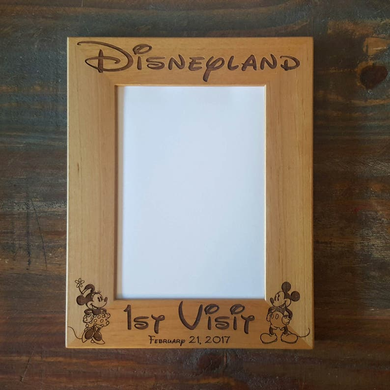 Mickey and Minnie Mouse Disneyland 1st Visit 8x10 Custom Laser Engraved Frame