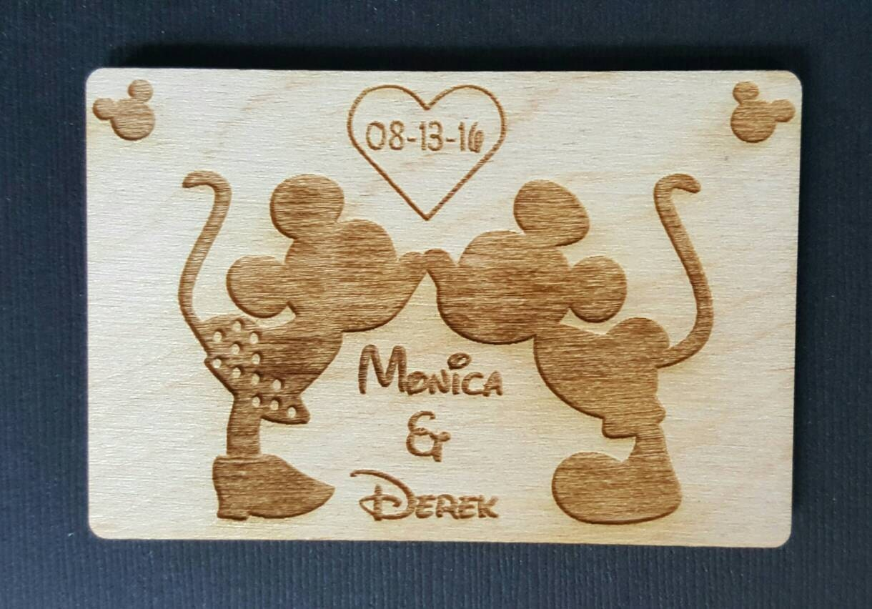 2 Wedding Favor Mickey And Minnie Mouse Magnets Bride Groom